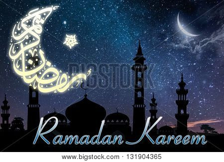 Dark background with moon and stars and masjid shadow