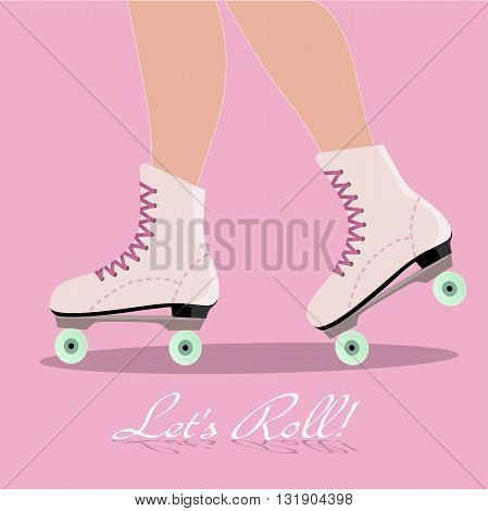 Invitation card with roller skates boots, EPS8 vector illustration