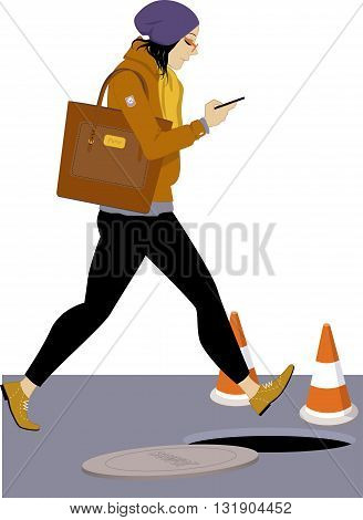 Smartphone addiction. Young woman looking at hier smartphone and walking into an open manhole, vector illustration