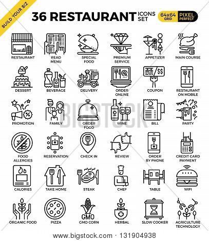 Restaurant Food Business Pixel Perfect Outline Icons