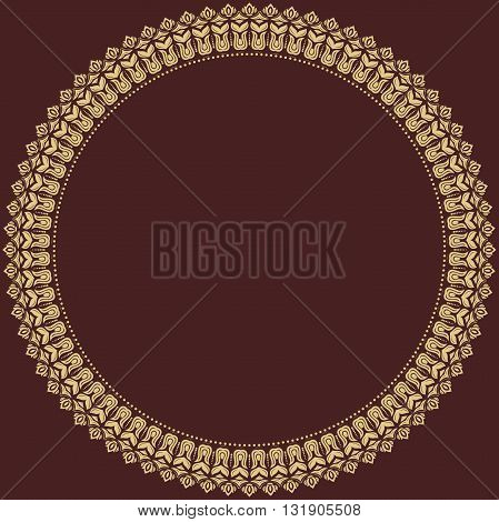 Oriental round frame with golden arabesques. Fine greeting card