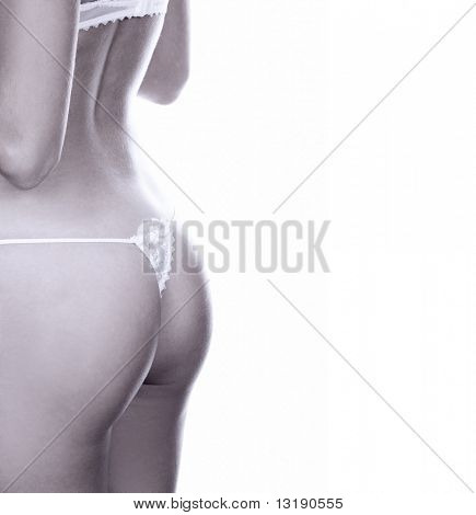 Monochrome picture of girl's buttocks