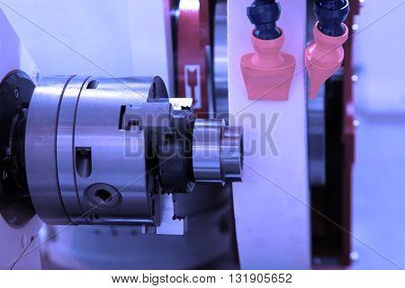 metalworking industry: finishing metal working on lathe grinder machine