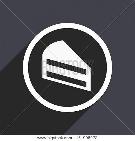 Cake icon. Flat design vector button. Web and mobile app design illustration