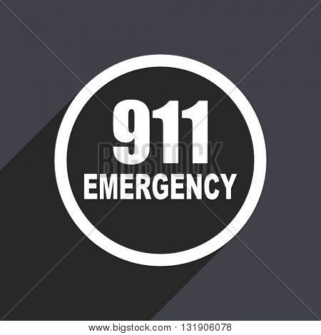 911 icon. Flat design vector button. Web and mobile app design illustration