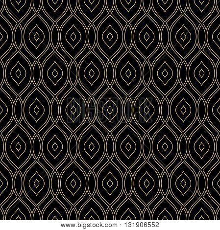 Seamless ornament. Modern geometric dark pattern with repeating golden wavy lines
