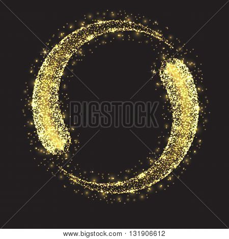 Glittering star dust circle. Magic lights vector background. Abstract background with luminous swirling backdrop.