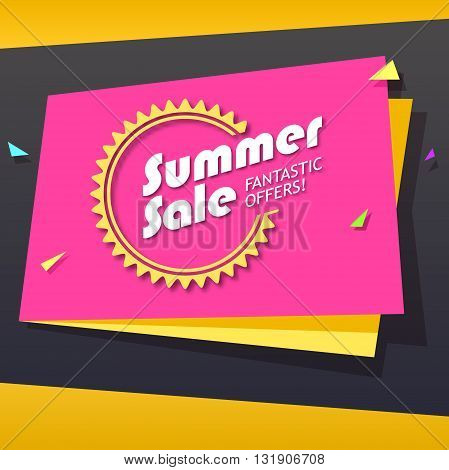 Summer sale and special offer origami paper banner. Great bright background for your offers, promotional posters, advertising shopping flyers and discount banners. Vector speech bubble
