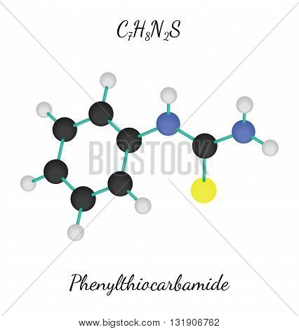 C7H8N2S Phenylthiocarbamide 3d molecule isolated on white