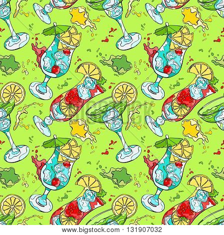 Cocktail. Refreshing drink. Splashes and drops. Seamless vector pattern (background).