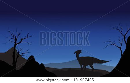 Silhouette of one Parasaurolophus at the night