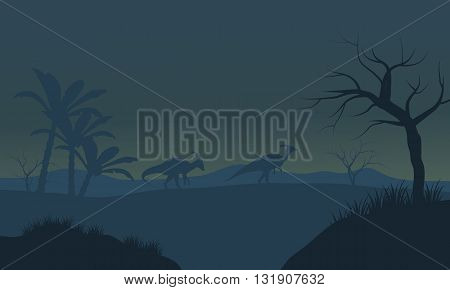 Parasaurolophus in fields scnery silhouette with fog