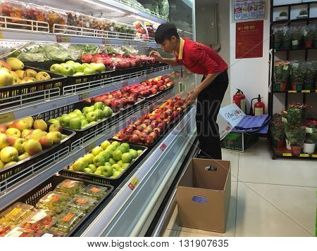 Hanoi, Vietnam - May 29, 2016: Many kind of fruits and vegetables being displayed for sale at a Vinmart supermarket. Vinmart is and retailer brand of Vingroup - a biggest Vietnamese corporation.