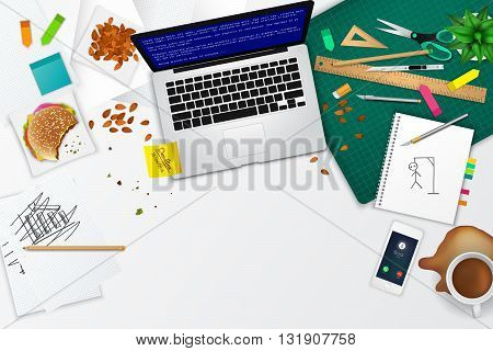 Messy office and working space product mockup template layout background with many objects and tools with quiting and stress concept create by vector