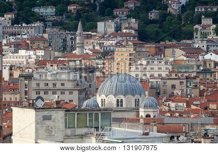 Top view of the Saint Spyridon Church Serbian Orthodox church in Trieste Italy.