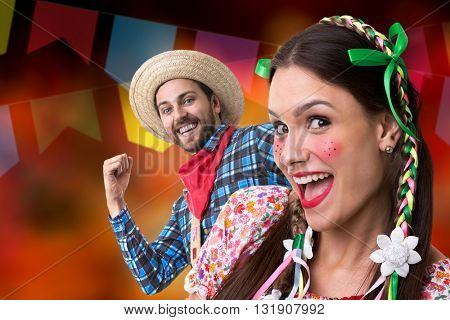 Couple having fun on Brazilian Junina Party