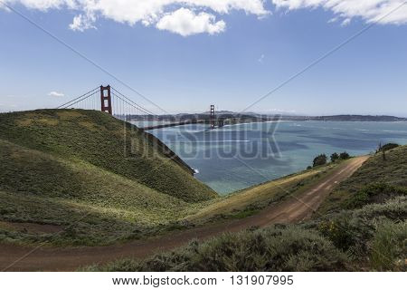 Marin Headlands bridge view hillsides at Golden Gate National Recreation Area