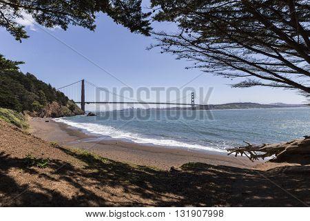 Golden Gate Recreation Area bridge view Marin Headlands beach cove.