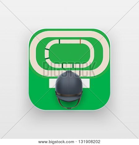 Square icon of horse hippodrome sport. Sporting field and ball. Vector Illustration isolated on background.