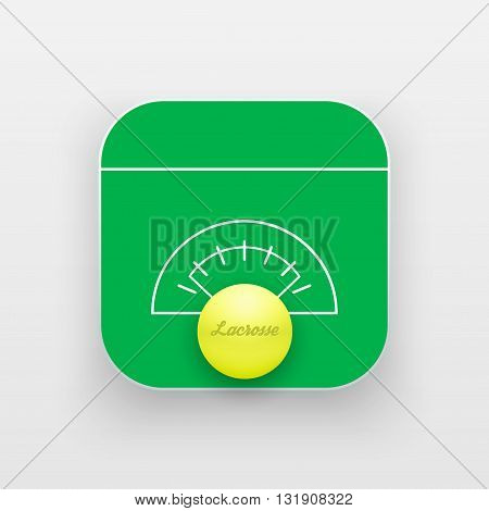 Square icon of lacrosse sport. Sporting field and ball. Vector Illustration isolated on background.