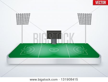 Concept of miniature tabletop lacrosse stadium. In three-dimensional space. Vector illustration isolated on background.