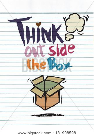Hand Drawn Doodles,think Out Side The Box Concept