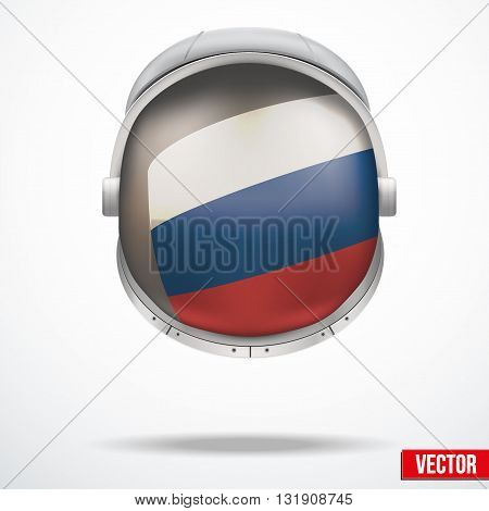 Astronaut helmet with big glass with flag Russia reflecting on visor glass. Vector Illustration Isolated on White Background