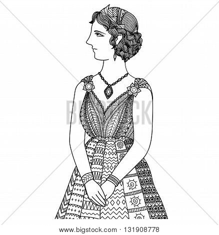 Clean lines doodle art design of Princess Elissa of cartage,design for T-Shirt graphic and adult coloring book