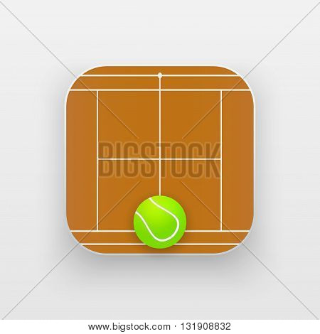Square icon of tennis sport. Sporting court and ball. Vector Illustration isolated on background.