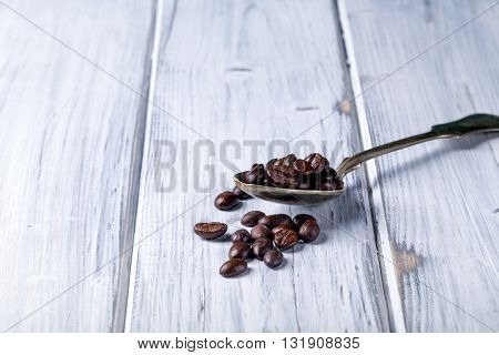 Silver Spoon With Coffee Beans