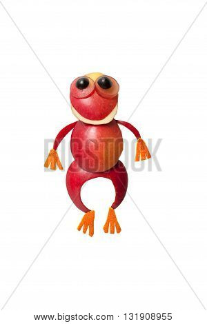 Funny frog made of red apple on white background