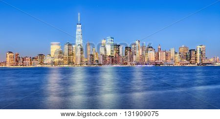 New York City Manhattan downtown skyline with skyscrapers including the One World Trade Center