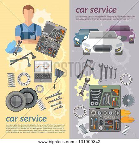 Car service car banner auto mechanic tool box car parts vector illustration