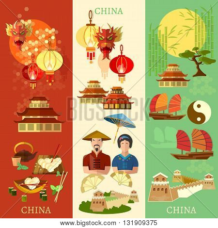 China banner culture and traditions vector illustration