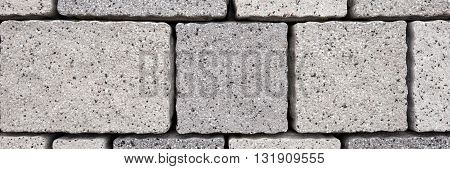 Paving blocks made of rectangular grey stones