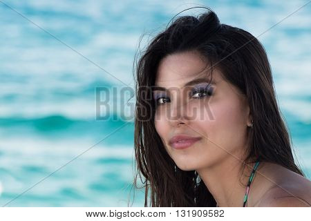 Smiling Black Hair Mexican Latina Girl Portrait