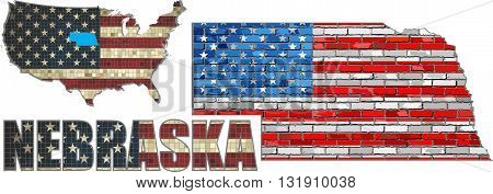 USA state of Nebraska on a brick wall - Illustration, The flag of the state of Nebraska on brick textured background,  Nebraska Flag painted on brick wall, Font with the United States flag,  Nebraska map on a brick wall