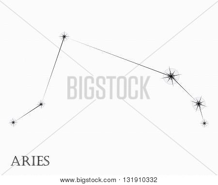 Aries Zodiac sign, black and white vector illustration