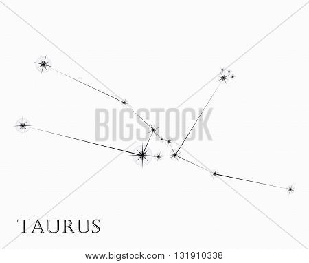 Taurus Zodiac sign, black and white vector illustration