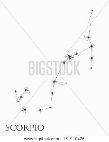 Scorpio Zodiac sign, black and white vector illustration