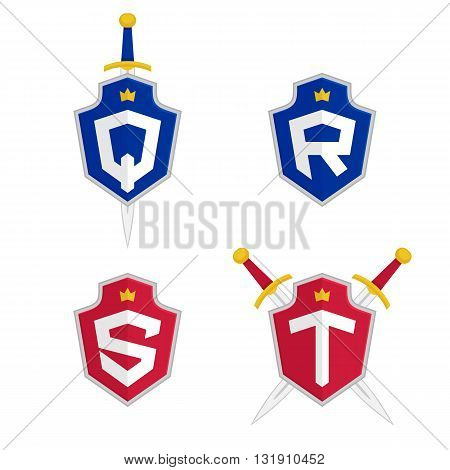 Letter Q, R, S, T vector logo templates. Letter logo with shield and sword. Luxury logo, safety logo.