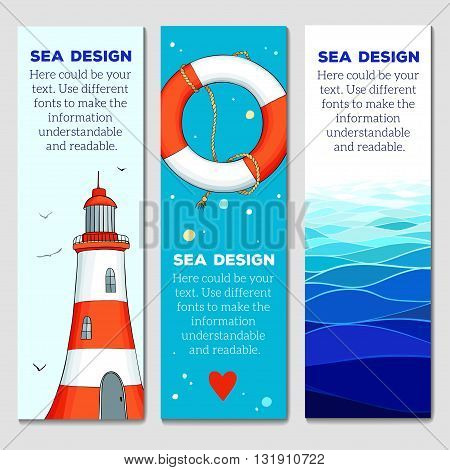 Set of 3 lovely cards templates with nautical elements. Creative banners. Vector illustration.