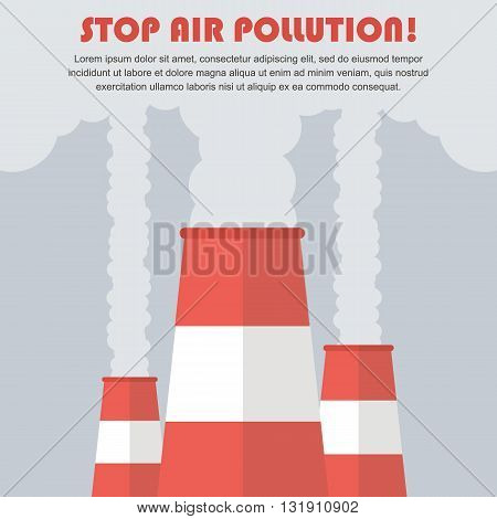 Air pollution vector flat design illustration. Smoking factory concept illustration background.