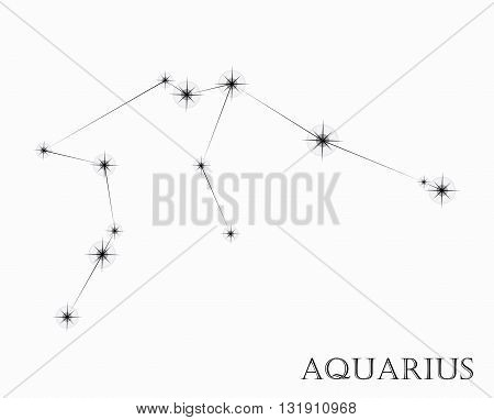 Aquarius Zodiac sign, black and white vector illustration