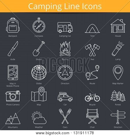 25 Camping line icons, vector eps10 illustration