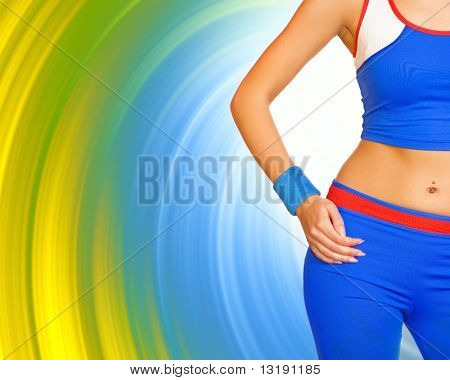 Fitness girl's body on abstract background