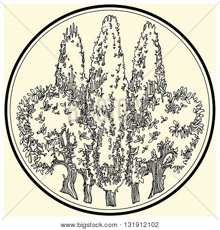 Hand drawn tree. Vectror illustration made in vintage style.