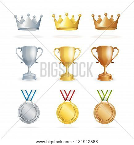 Awards Set. Three Places Winners. Crown, Cup and Medal. Vector illustration