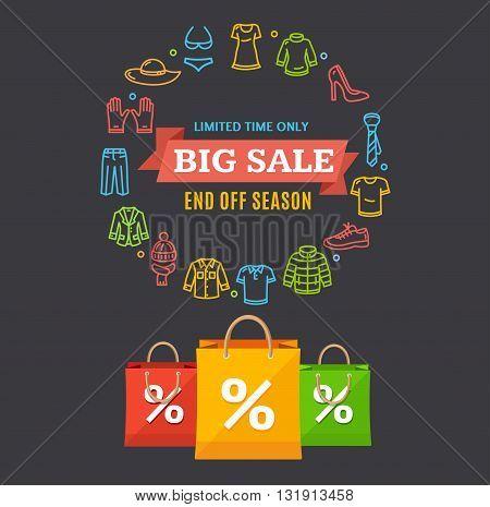 Big Sale Clothing Season Concept. Vector illustration