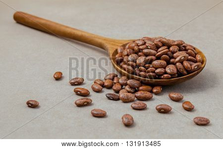 The Composition Of Raw Pinto Beans In Wooden Spoon On Brown Background. .